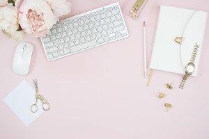 Pink office desktop flat lay photo