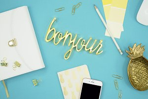 Turquoise blue office flat lay photo