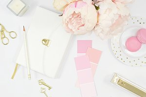 White pink office flat lay photo