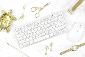 White Gold desktop flat lay photo