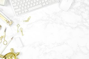White gold marble desktop photo
