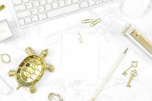 White gold marble desk stock photo