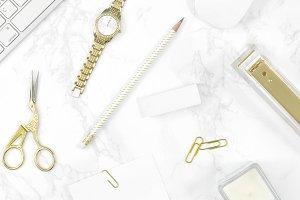 White gold desktop marble flat lay