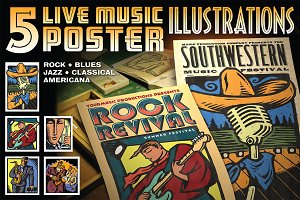 5 Music Poster Illustrations