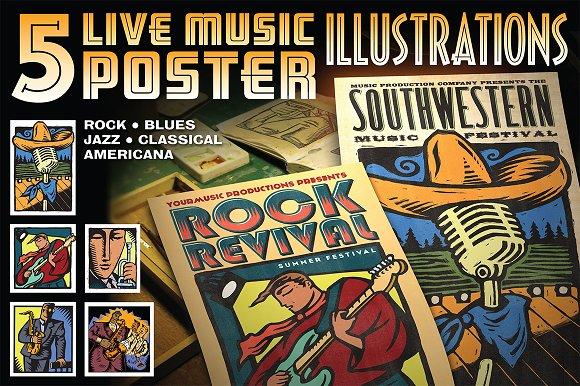 5 Music Poster Illustrations