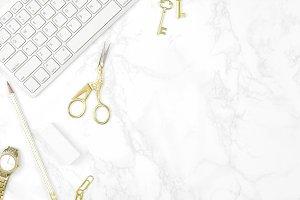 White gold marble desktop flat lay