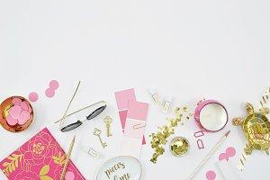 Pink gold desktop mockup flat lay