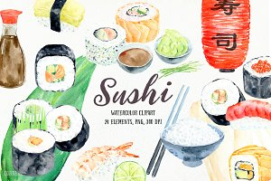 Watercolor Clipart Sushi