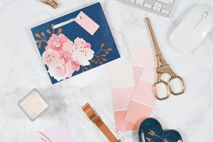 Rose gold navy marble desk photo