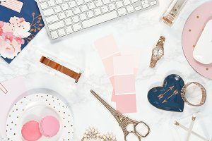 Rose gold blue marble desk flat lay