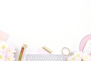 White floral gold desktop flat lay
