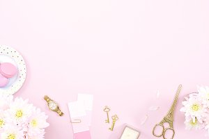 Pink gold floral desk flat lay photo