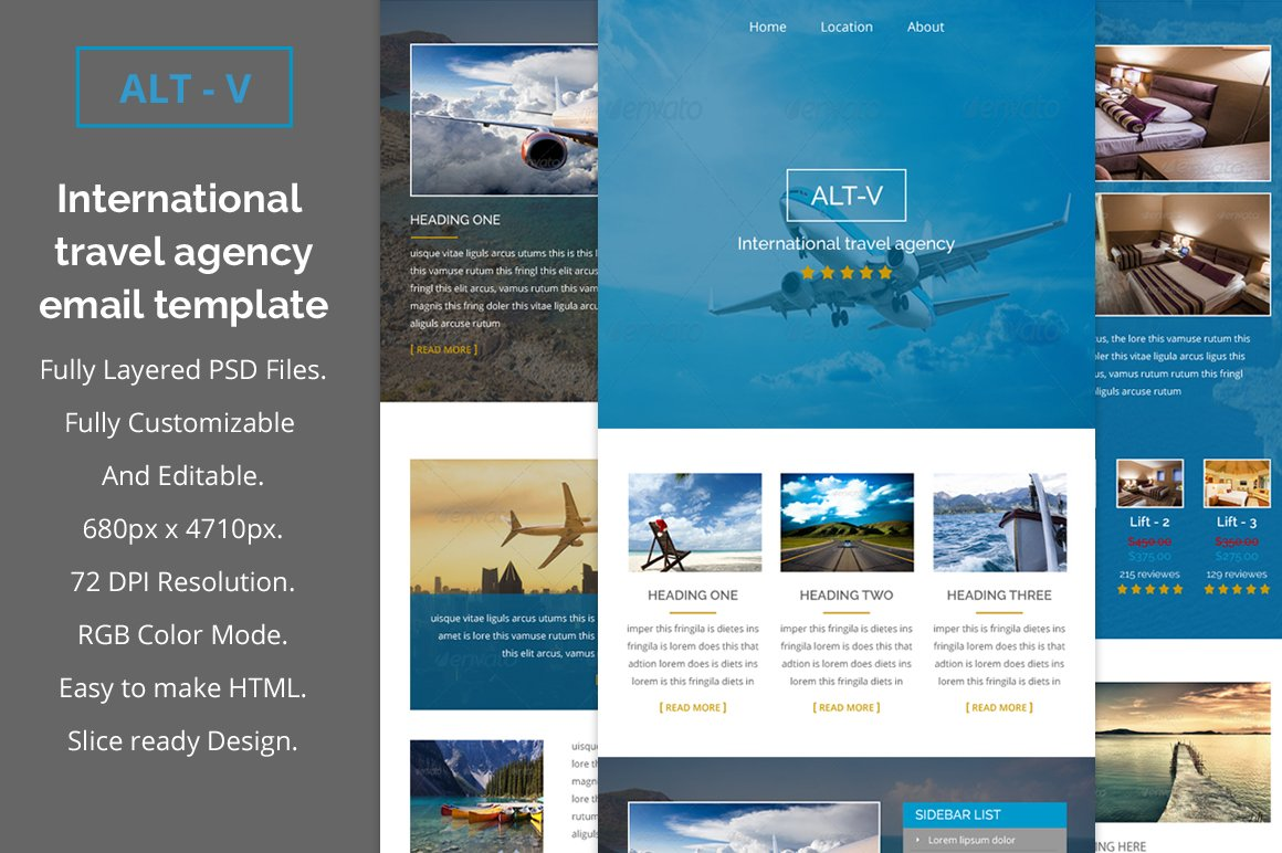 alt v travel agency email template email templates creative market