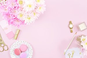 Pink floral gold desk flat lay photo