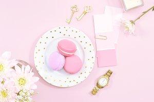 Pink macarons gold flat lay photo
