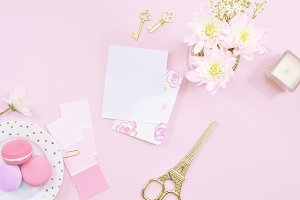 Pink desktop macarons flat lay photo