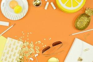 Orange yellow summer flat lay photo