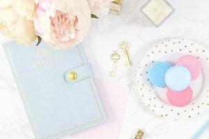 Blue floral marble desktop photo