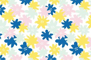 Brush Floral Seamless Pattern