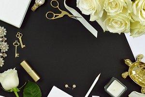 Black white roses floral desk photo