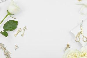 White rose gold desktop flat lay