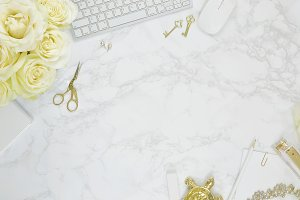 White rose marble gold desk flat lay