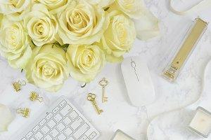 White roses gold floral desk photo