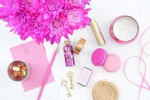 Pink floral gold desktop flat lay
