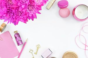 Pink floral fuchsia gold desk photo