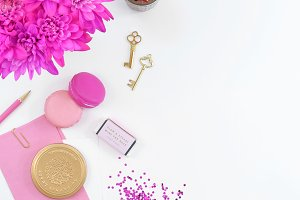 Pink fuchsia floral gold flat lay