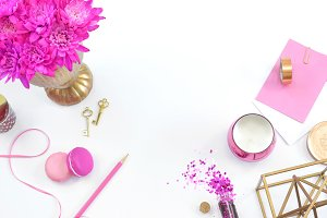 Pink floral gold desk mockup photo