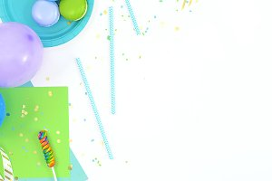 Blue green, party theme flat lay