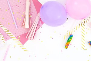 Pink purple balloons party flat lay