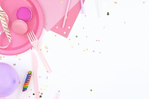 Pink party balloons theme mockup