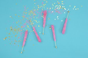 Candy party glitter stock photo
