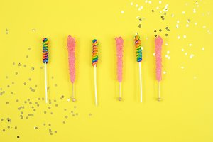 Candy yellow pink pop rocks photo