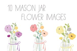 Mason Jar Flower Clip Art + Vector