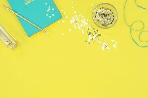 Yellow turquoise, desktop mockup