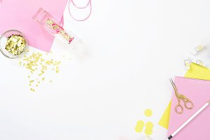 Pink craft hobby desk mockup photo