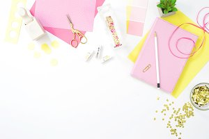Pink craft hobby desktop flat lay