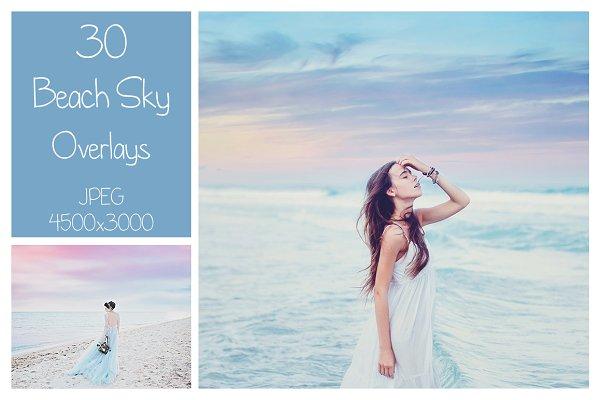 30 Beach Sky Overlays