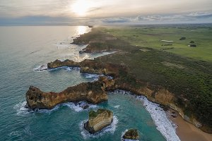 Aerial view of rugged coastline