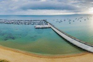 Aerial panorama of long pier