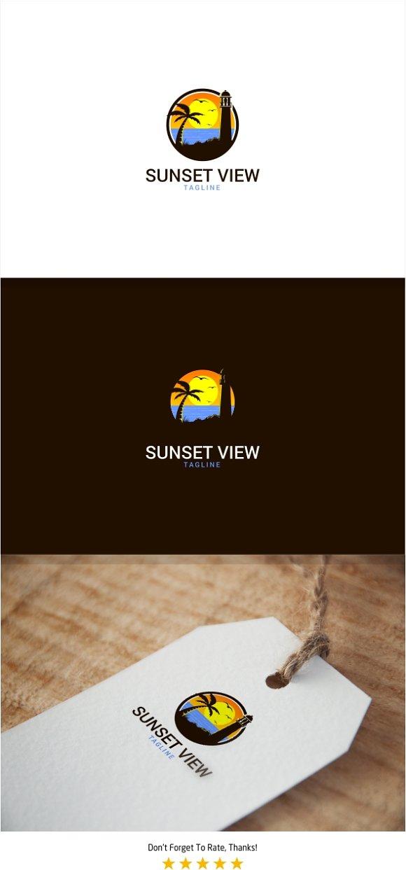 Sunset Beach View Logo in Logo Templates