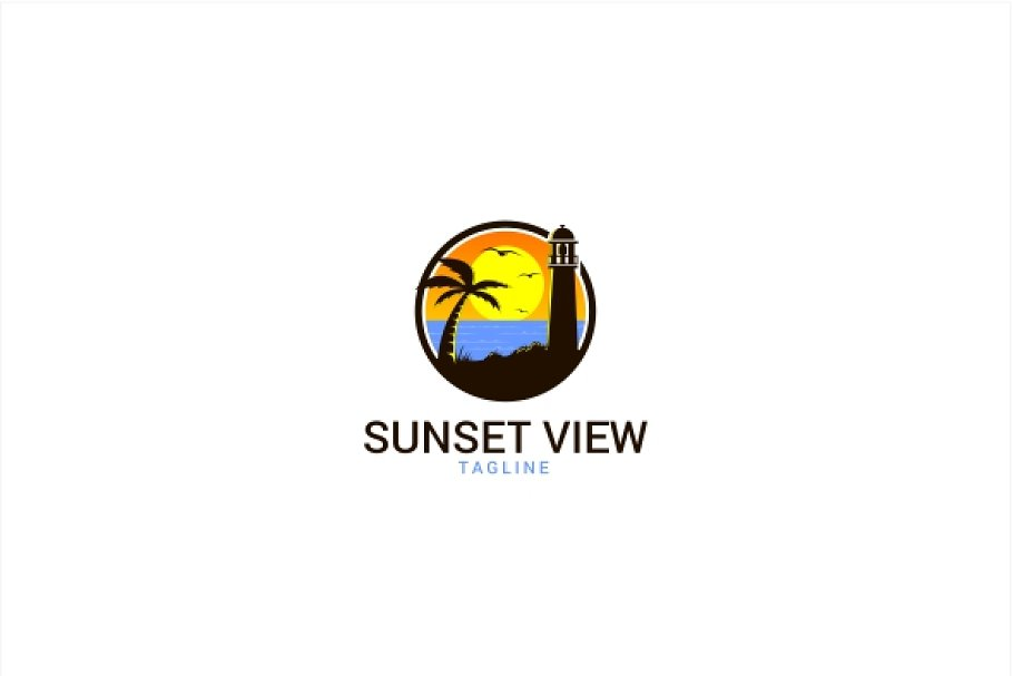 Sunset Beach View Logo in Logo Templates - product preview 8