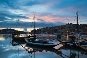 Rabelo Boats on Douro River at Dusk
