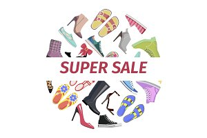 Supper Summer Shoes Sale Flat Vector Concept
