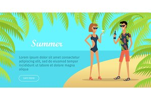 Summer Vacation Conceptual Flat Vector Web Banner