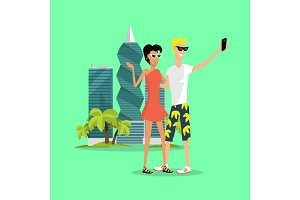 Vacation in Panama Vector Concept in Flat Design