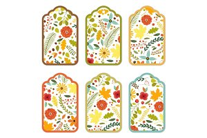 Cute autumn gift tags bundle with hand drawn rustic flowers and leaves ornament